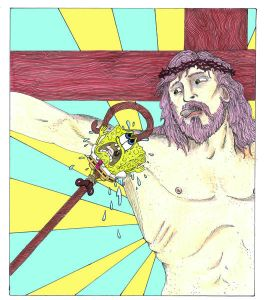 Spongebob being lifted to Jesus