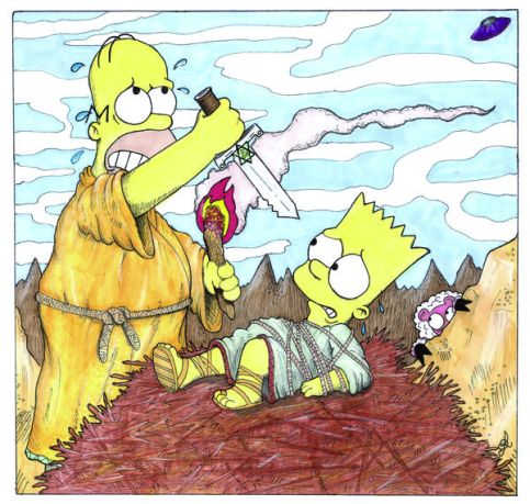 Homer sacrifices Bart --Genesis 22
